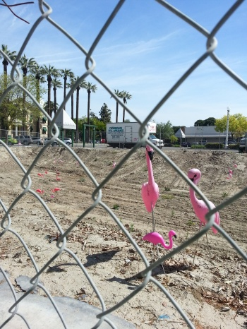 Cheerful kitsch in a bulldozed lot in historic downtown Hanford, CA, April 23, 2013